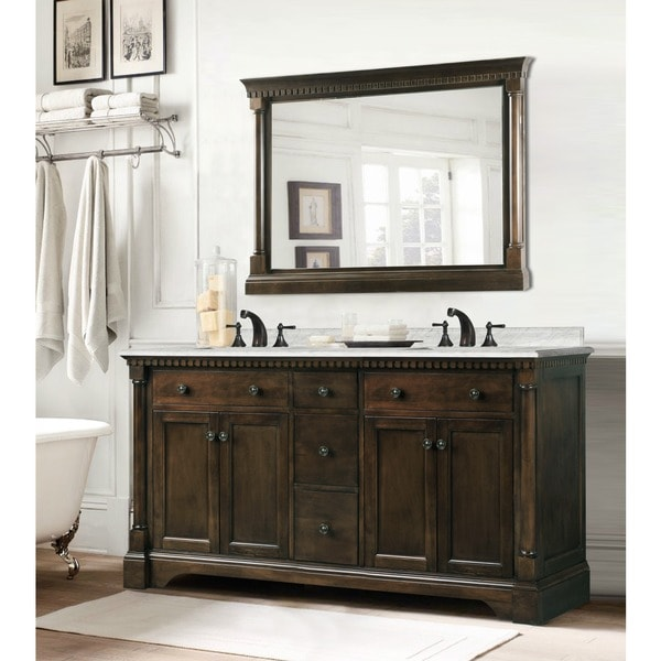 Shop Carrara Marble 60 Inch Double Sink Vanity In Coffee Bean White Finish With Matching Wall