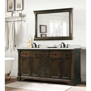 Carrara Marble 60-inch Double Sink Vanity in Coffee Bean/ White Finish with Matching Wall Mirror, 2-piece Set