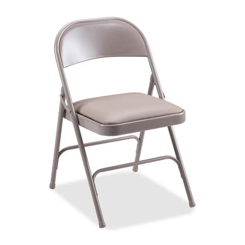 Lorell Beige Upholstered Seat Steel Folding Chairs (Pack of 4)
