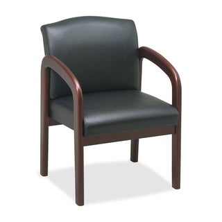 Lorell Cherry/ Black Faux Leather Deluxe Guest Chair