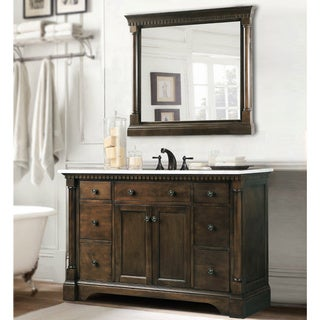 Carrara Marble Top Bathroom Vanity In Coffee Bean White Finish With Matching Wall Mirror