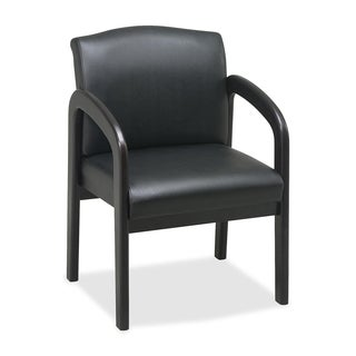 Lorell Black Faux Leather Deluxe Guest Chair