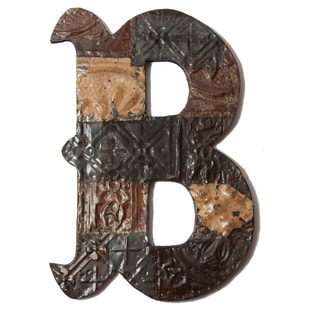 Ozark Folk Art Reclaimed Tin Letter B