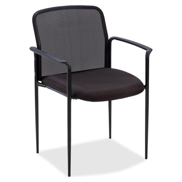 Lorell Black Stackable Reception Side Guest Chair
