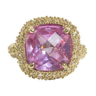 NEXTE Jewelry Large Cushion-cut Created Pink Sapphire and Round Gemstone Accents Ring