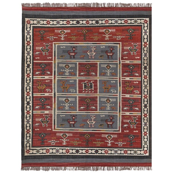 Hand Woven Tribal Wool And Jute Rug 12 X 18 Free