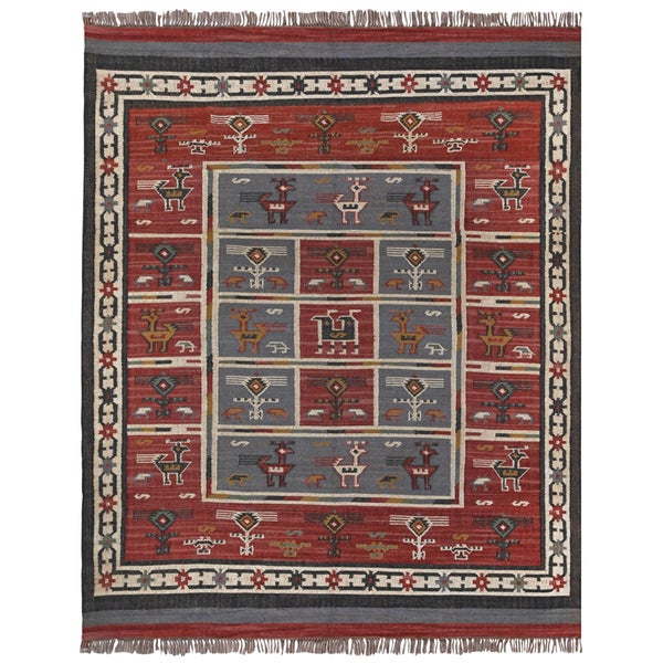 Hand Woven Tribal Wool and Jute Rug (12 x 18) - 12' x 18'