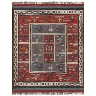Hand Woven Tribal Wool and Jute Rug (12 x 18)