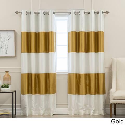 Aurora Home Striped Dupioni Grommet Top Blackout Curtain Panel Pair
