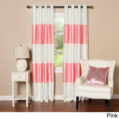 Aurora Home Striped Dupioni Grommet Top Blackout Curtain Panel Pair