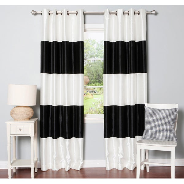 Aurora Home Striped Dupioni Grommet Top Blackout Curtain