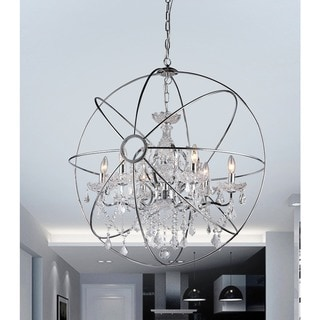 Saturn's Ring Chrome 32-inch Orb Chandelier