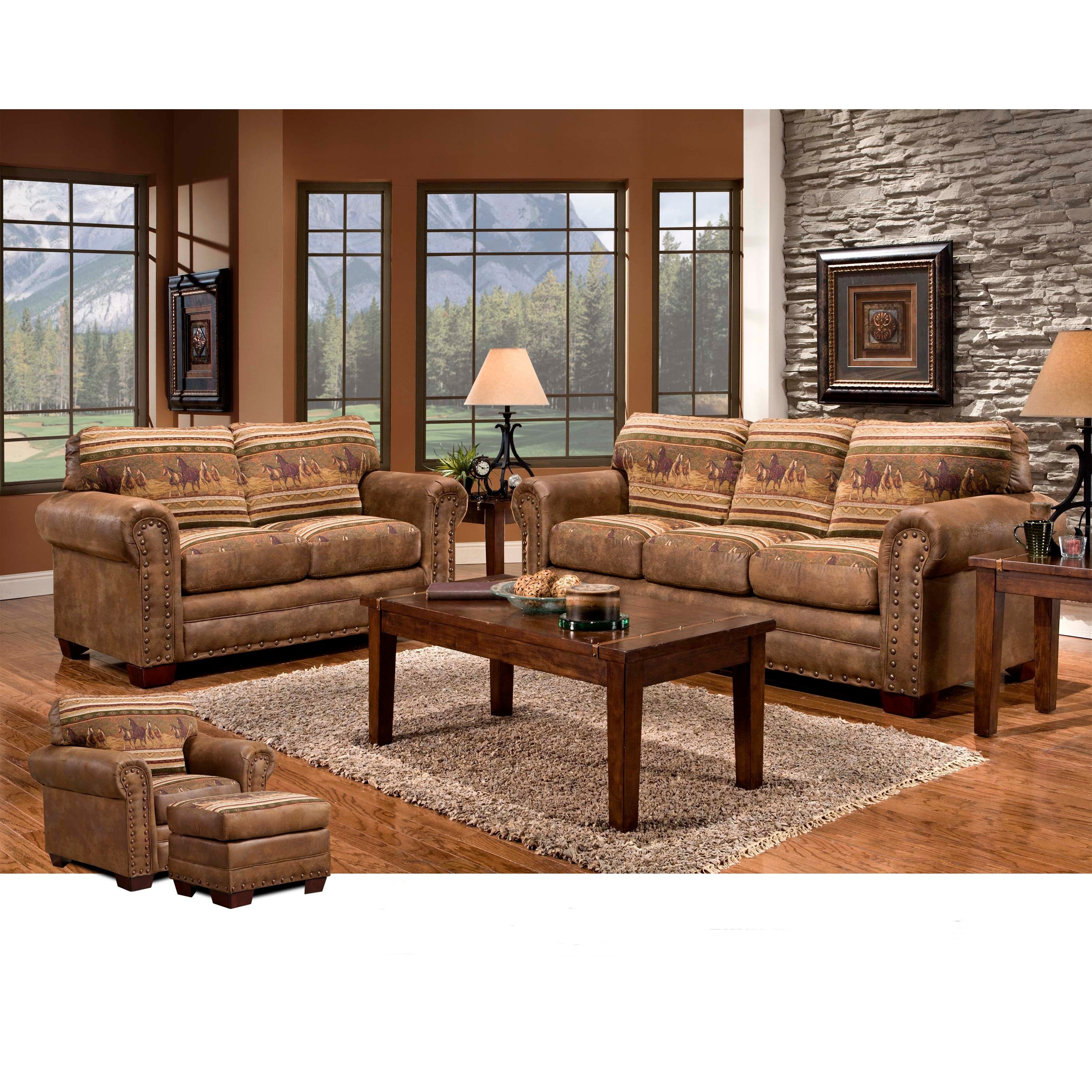 Cabela's American Wild Horses Lodge 4-piece Group with So...