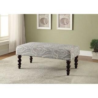 Linon Estelle Fischscale Print Upholstered Bench