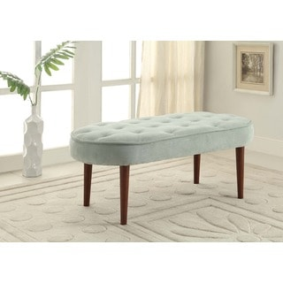 Linon Graceful Oval Seat Bench in Light Blue Microfiber