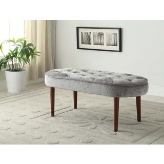 Linon Graceful Oval Seat Bench in Shiny Gray Microfiber