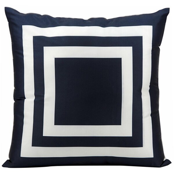 Mina Victory Indoor/Outdoor Squares Navy Throw Pillow (20-inch x 20-inch) by Nourison