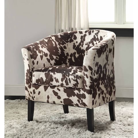 Linon Andrew Barrel Brown and White Print Club Chair