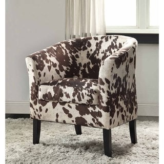 Link to Linon Andrew Barrel Brown and White Print Club Chair Similar Items in Living Room Chairs
