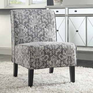Linon Cozy Grey Woven Fabric Button Tufted Lounge Chair
