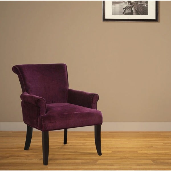 Shop Linon Calla Dark Purple Fabric Accent Chair Free Shipping Today 9231770