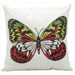Mina Victory Indoor/Outdoor Butterfly White Throw Pillow (18-inch x 18-inch) by Nourison