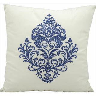 Mina Victory Indoor/Outdoor Blue Damask Ivory Throw Pillow (18-inch x 18-inch) by Nourison