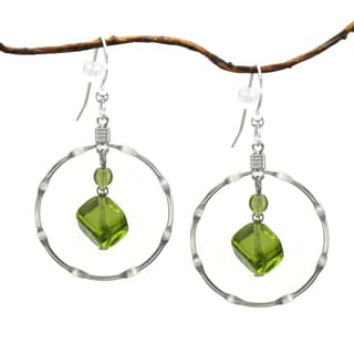 Jewelry by Dawn Large Olive Green Silver-plated Notched Hoop Earrings