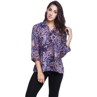 Handmade Women's Floral Printed 3.4 Sleeve Top (India)