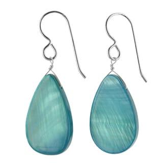Ashanti Sterling Silver Aqua Mother of Pearl Handmade Earrings (Sri Lanka)
