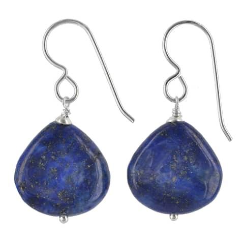 Blue Lapis Lazuli Gemstone Silver Handmade Earrings