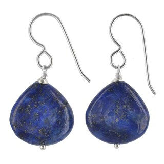 Blue Lapis Lazuli Gemstone Sterling Silver Handmade Earrings. Ashanti Jewels
