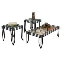 Signature Design by Ashley, Exeter Black Brown 3-piece Occasional Table Set