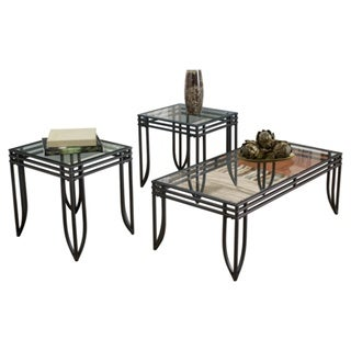 Exeter Black Brown 3-piece Occasional Table Set