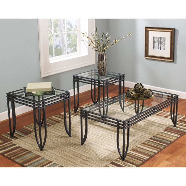 signature design by ashley exster blackbrown 3piece occasional table set