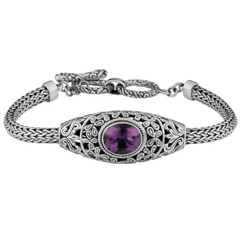 Handmade Sterling Silver Amethyst Cawi Toggle Bracelet (Indonesia)