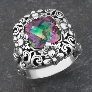 Handmade Sterling Silver Mystic Topaz Floral Blossoms Ring (Indonesia)