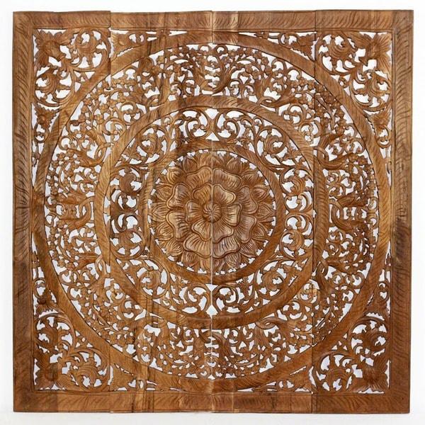 Handmade teak wood lotus wall panels thailand free - Carved wood wall art panels ...