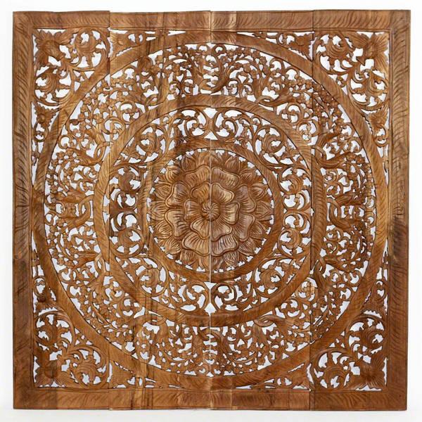 Handmade Teak Wood Lotus Wall Panels (Thailand)