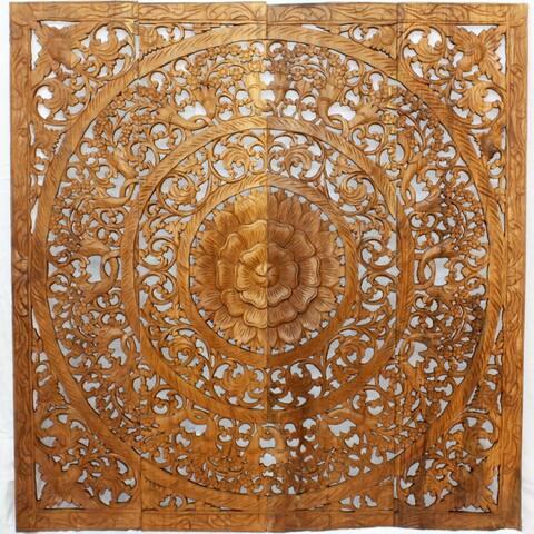 Haussmann® Teak Lotus Panel 48 x 48 inches H-3D Brown Stain Wax