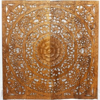Handmade Teak Wood Lotus Wall Panels (Thailand)