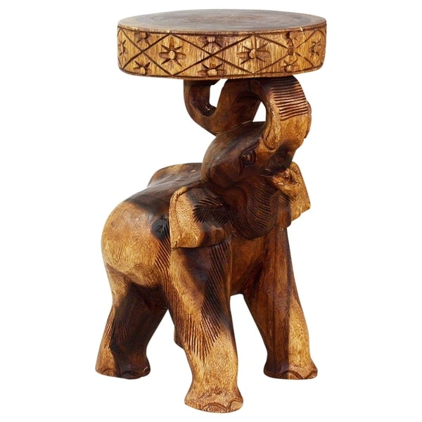 "Handmade Walnut Oil Wood Chang Elephant Stool - 11"" x 11"" x 20"" (Thailand)"