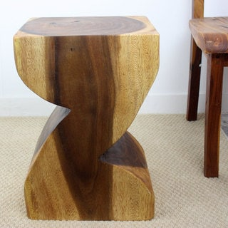 Hand-carved Walnut Oil ZAT Acacia Wood Stool (Thailand)