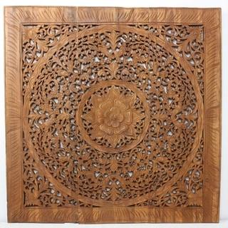 Handmade Recycled Teak Lotus Panel Inlay (Thailand)
