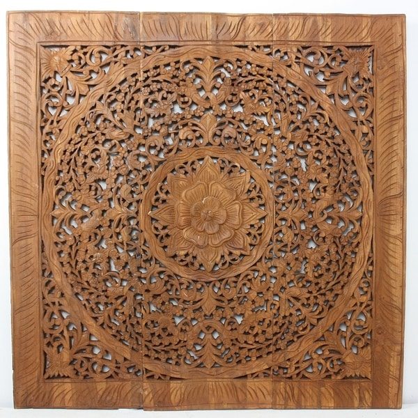 Haussmann® Teak Lotus Panel Inlay 36 in x 36 in Brown Stain Wax. Opens flyout.