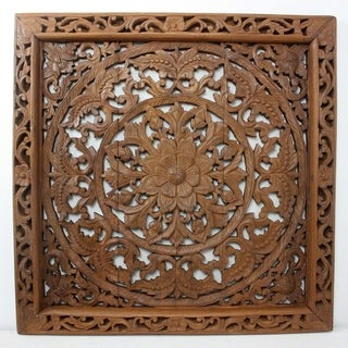 Hand-carved 1-piece 36-inch Square Recycled Teak Framed Lotus Wall Panel (Thailand)