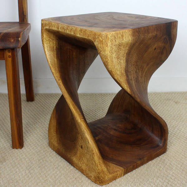 Handmade 14 x 20 Walnut Oiled Double Twist Acacia Stool (Thailand)
