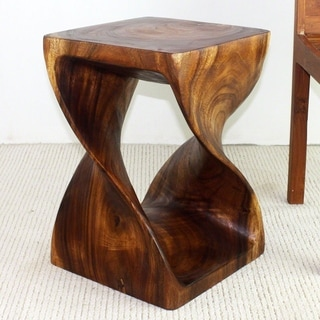 Hand-carved 14 x 20 Walnut Oiled Double Twist Acacia Stool (Thailand)