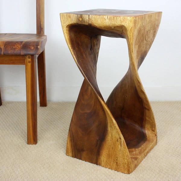 Handmade 12 x 23 Walnut Oiled Acacia Wood Twist Stool (Thailand)
