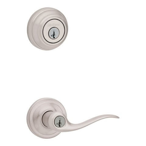Tustin Satin Nickel Entry Lever and Single Cylinder Deadbolt with SmartKey
